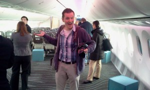 Steven Pam enjoying his time on board Boeing's 787 test aircraft ZA003