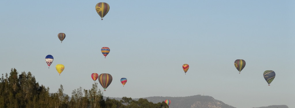 Balloons flying in 2013 over the Hunter Valley