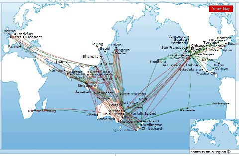 Qantas route Map from AirlineRouteMaps.com