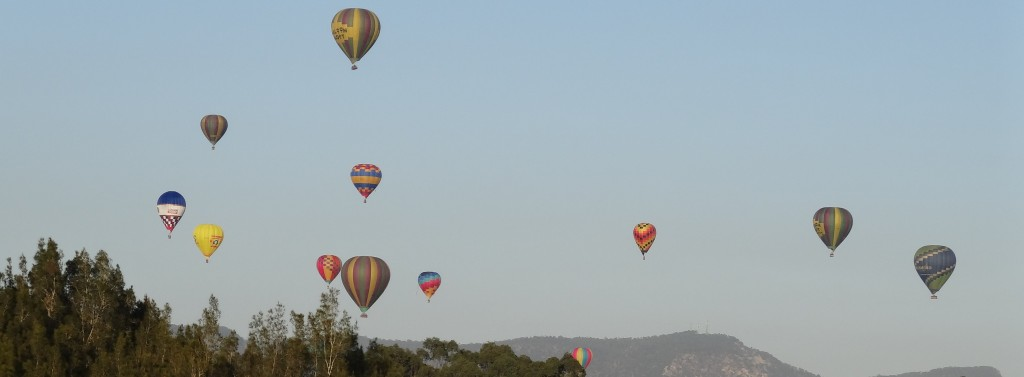 Some of the commercial & private balloons flying at the Fiesta