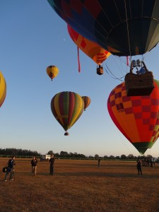 A few of the private balloons launching on the Sunday morning