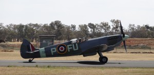 Temora Aviation Museum's Spitfire Mk XVI taxiing past