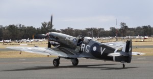 Temora Aviation Museum's Spitfire Mk VIII taxiing away